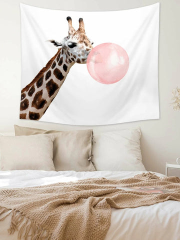 Funny Animal Style Bubble Gum Giraffe Tapestry