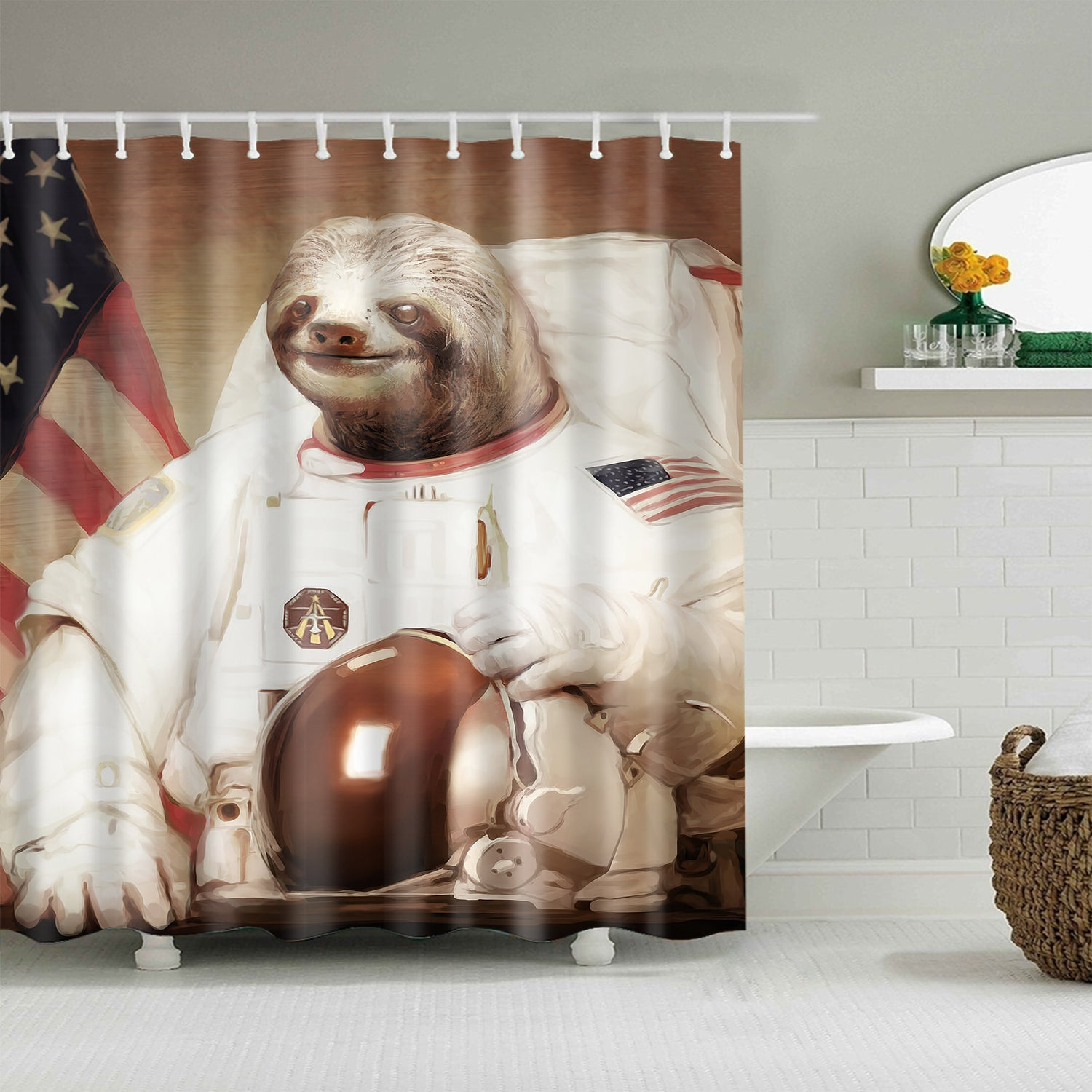 Funny Astronaut Sloth Art NASA Moon Landing Shower Curtain