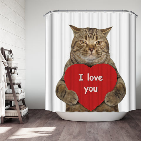 Funny Kitten Holding Big Red Heart with Love you Quote Valentine Cat Shower Curtain
