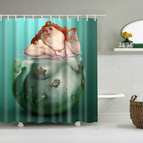 Funny Art Fat Girl Mermaid Fish Tank Shower Curtain
