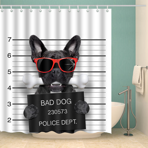 Funny Bad Dog in Police Proud French Bulldog Shower Curtain