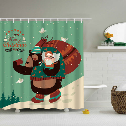 Funny Bear Taking Selfie With Santa Claus Shower Curtain