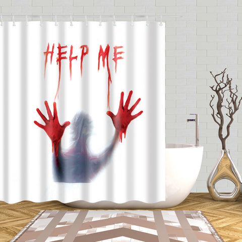 Funny Bloody Help Me Handprint Shower Curtain