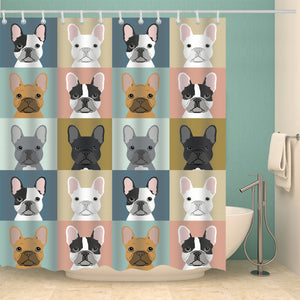 Funny Canvas Drawing French Bulldog Shower Curtain