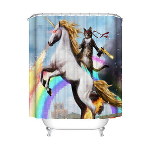 Funny Cartoon Cat Riding Unicorn Shower Curtain Bathroom Decor