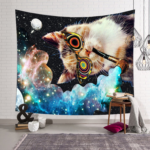 Funny Cat Colorful Glass Smoking Galaxy Space Tapestry