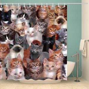 Funny Clowder Group of Cats Shower Curtain