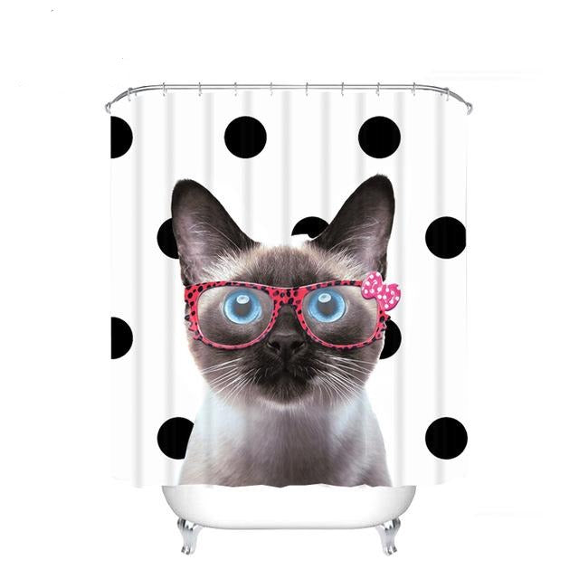 Funny Cute Cat with Glass Shower Curtain | GoJeek