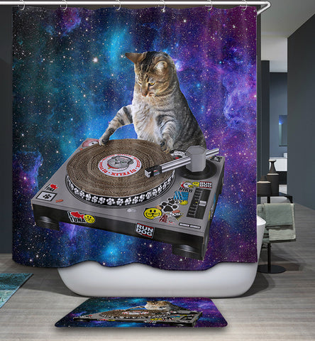 Cortina de ducha divertida DJ Space Cat