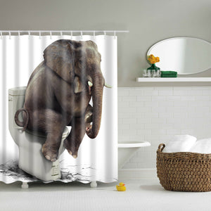 Funny Elephant Sitting On Toilet Shower Curtain | GoJeek