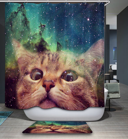 Cortina de baño divertida Galaxy Cat