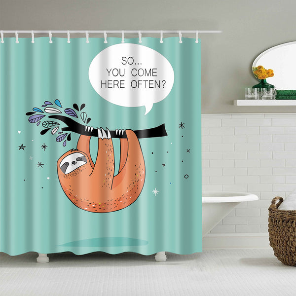 Funny Hand Drawn Orange Sloth Hanging Tree Shower Curtain