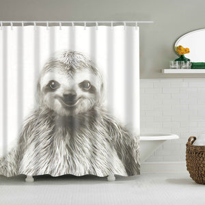 Funny Handsome Young Sloth Portrait Shower Curtain