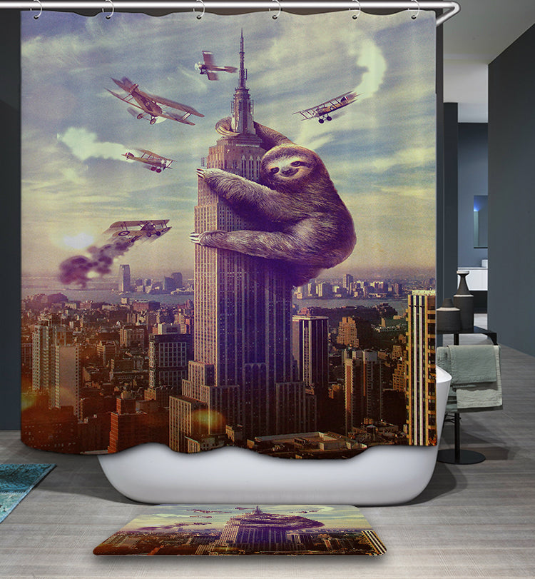 Funny King Kong Slothzilla Climbing Buildings Shower Curtain