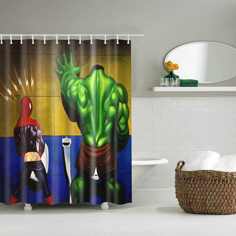 Funny Marvel Spider Man Hulk in Toilet Shower Curtain | GoJeek