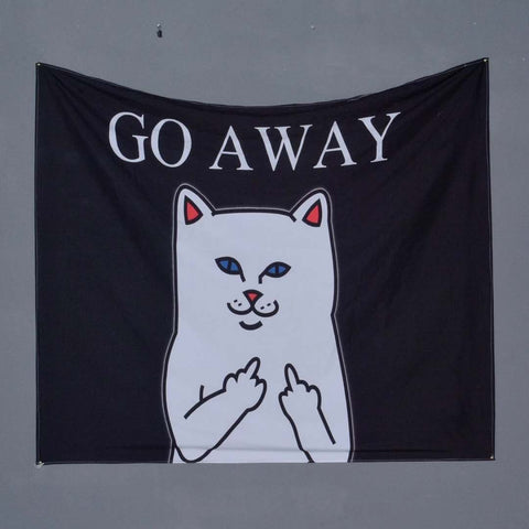 Funny Meme Cat with Finger Go Away Tapestry