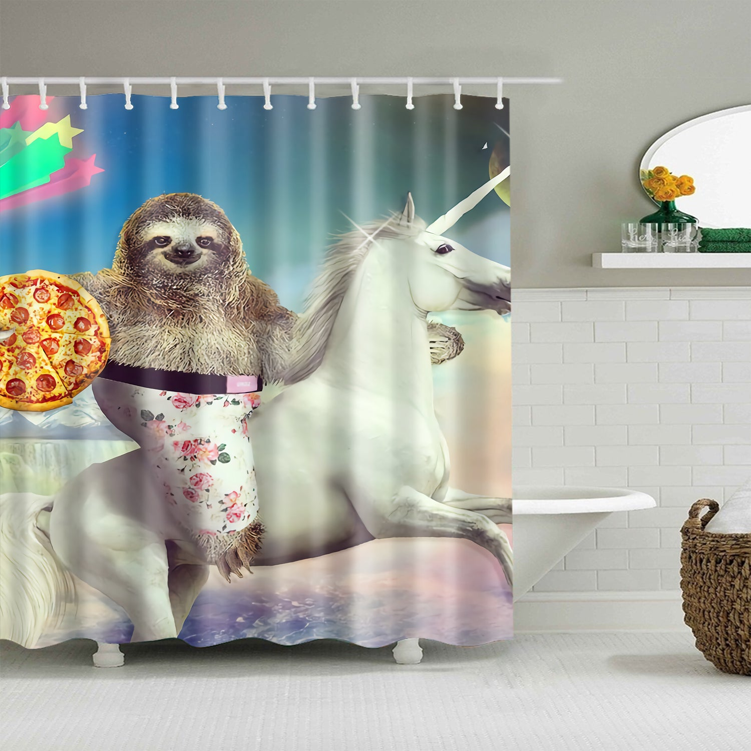 Pizza Sloth Riding Unicorn Shower Curtain