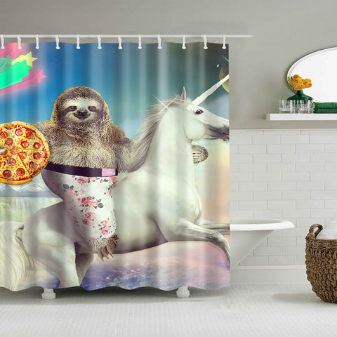 Cortina de ducha Pizza Sloth Riding Unicorn