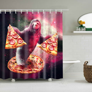 Funny Sloth with Pizza Random Galaxy Shower Curtain