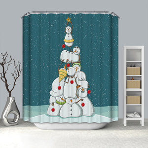 Funny Snowman Stacked Arhat Christmas Tree Shower Curtain