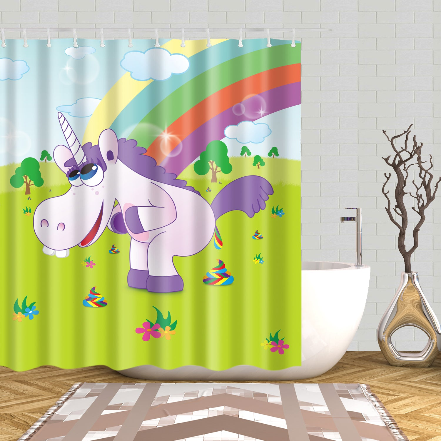 Funny Unicorn Pooping Rainbows Shower Curtain