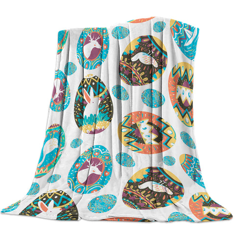 Spring Colorful Easter Eggs and White Bunny Deer Throw Blankets
