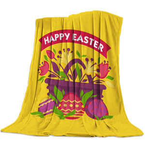 Happy Easter Colorful Eggs Ginger Throw Blankets