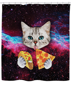 Galaxy Space Cat Taco cortina de ducha de pizza | GoJeek