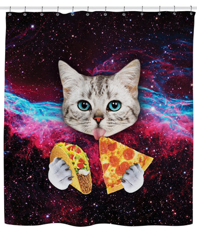 Galaxy Space Cat Taco Pizza Shower Curtain | GoJeek