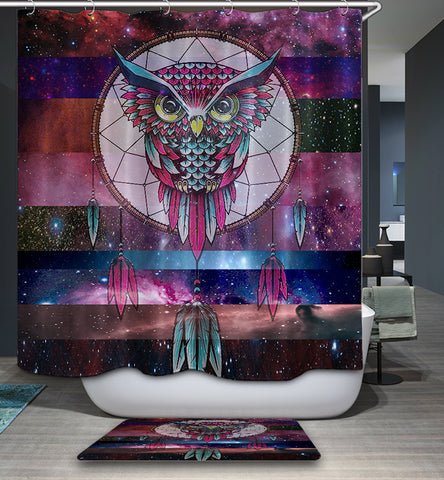 Galaxie mit Stripe Kulisse Dream Catcher Tribal Screech Red Owl Shower Curtain