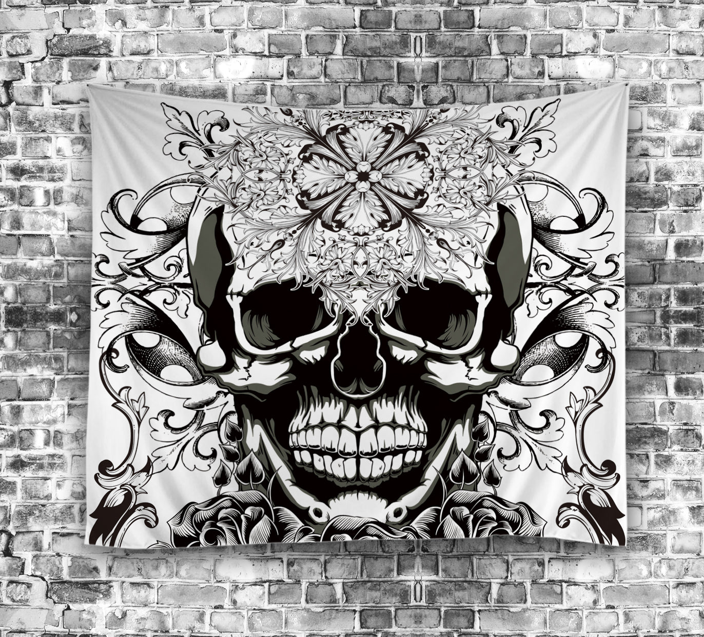 Gangster Cool Skull Teeth with Rose Tapestry
