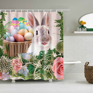 Garden Pink Roses Easter Rabbit Eggs Shower Curtain