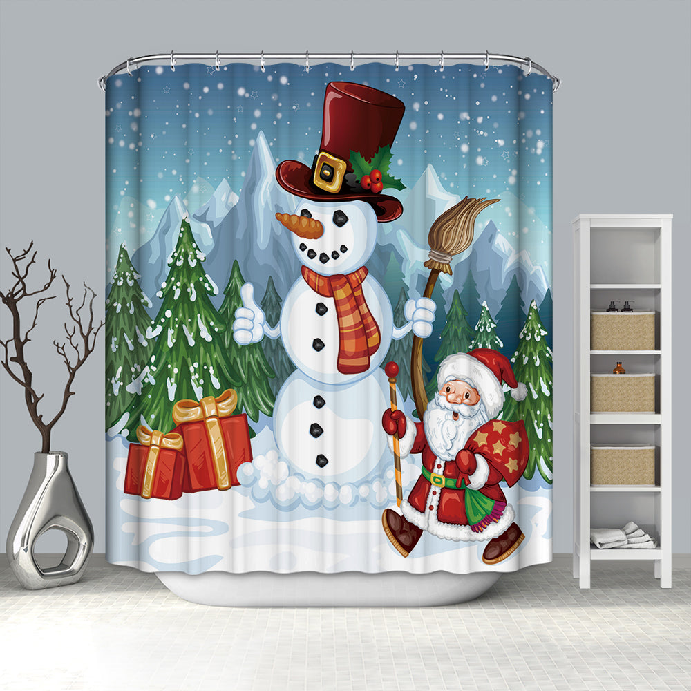 Gentle Style Snowman With Santa Shower Curtain