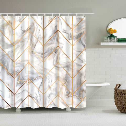 Geometric Veining Pattern Golden Line Italian White Marble Shower Curtain