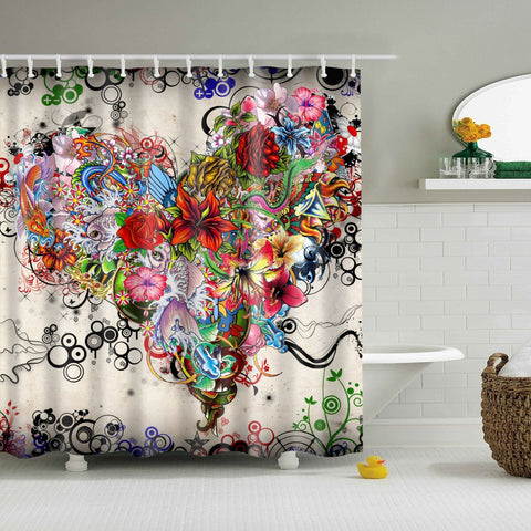 Get Out Of Your Head And Into Heart Flower Shower Curtain