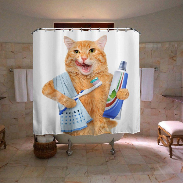 Ginger Cat Brushing Teeth Shower Curtain | GoJeek