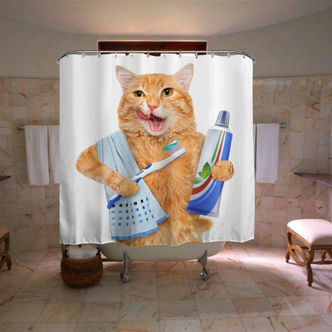 Ginger Cat Brushing Denti Doccia Curtain | GoJeek