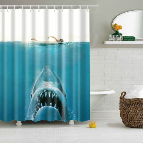 Girl Swimming Shark Poster Jaws Shower Curtain | GoJeek