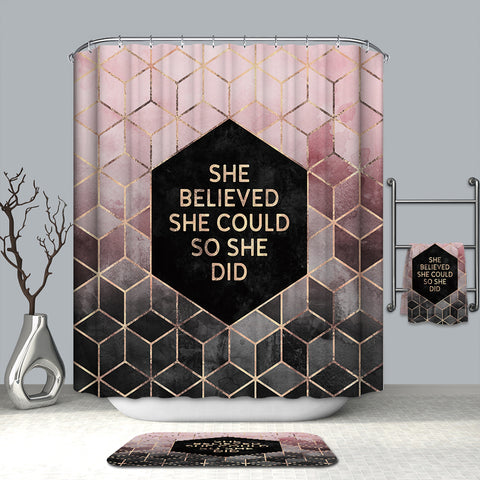 Girls Inspired Quote Pink Gold Geometric 3D Cube Shower Curtain