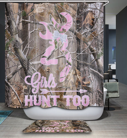 Girls Hunt Too Realtree Camo Shower Curtain