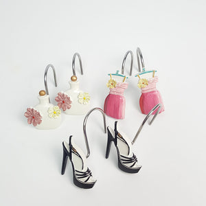 Girly 12pcs Rings High Heel Dress Perfume Shower Curtain Hooks