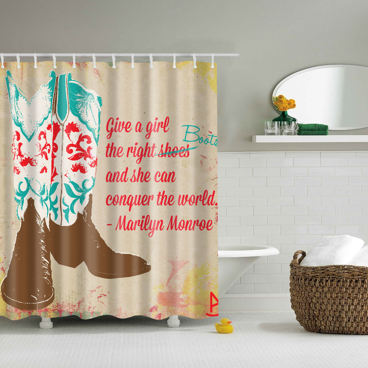 Girly Boots Marilyn Monroe Quote Shower Curtain