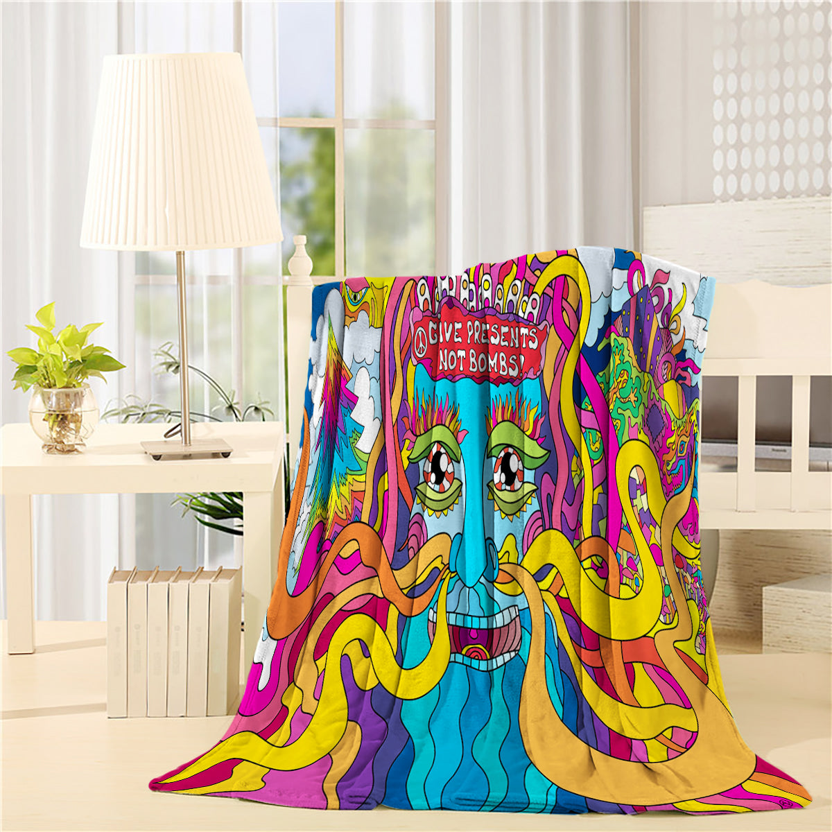 Give Presents Not Bombs Psychedelic Art Throw Blankets