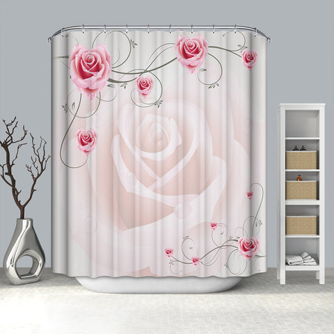 Glamorous Wedding Decor Penoy con Pink Rose Shower Curtain