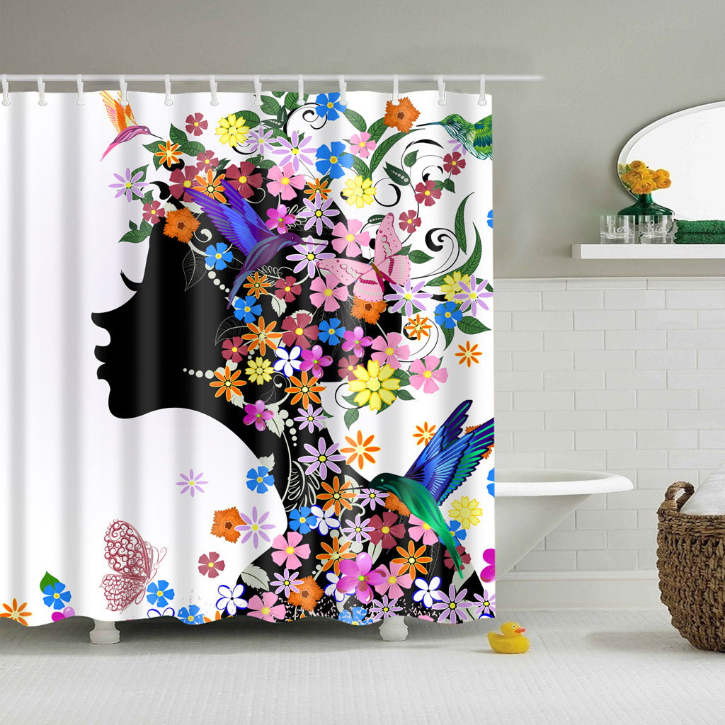 2a2f11b30af4 Glamour Girl Floral Hairstyle Butterfly Shower Curtain