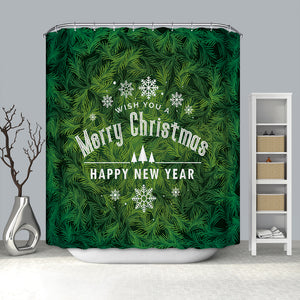 Glitter Christmas Tree with Holiday Quotes Shower Curtain