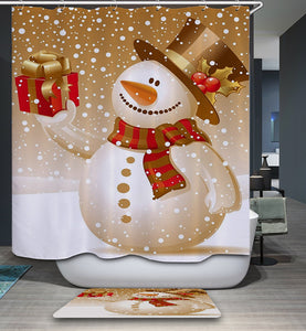Gold Backdrop Snowman Show Gift Shower Curtain