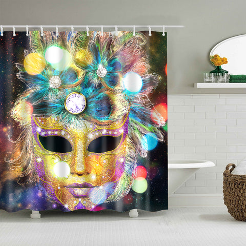 Gold Purple Glitter Peacock Feathers Venetian Carnival Mask Shower Curtain