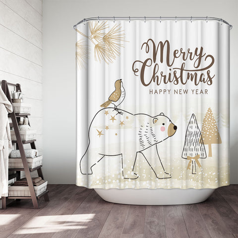 Gold White Merry Christmas Polar Bear Shower Curtain