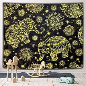 Gold and Black Seamless Ethnic Baby Elephant with Mandala Tapestry